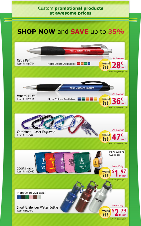 Custom promotional products at awesome prices