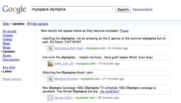 Google Adds Real-Time Results From MySpace