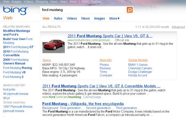 Bing Auto Results