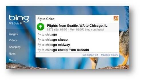 Bing Flight Suggestions