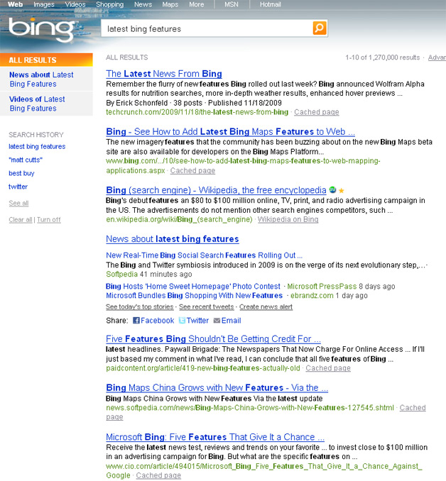 Bing Latest Features query