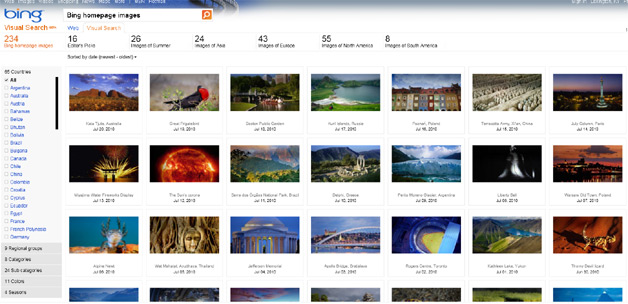 Bing Launches Gallery Of All Past Homepage Photos