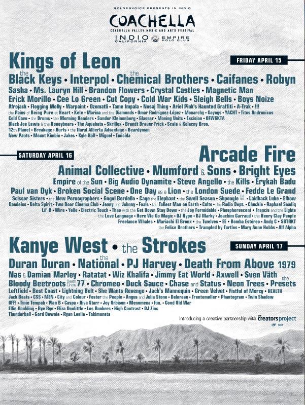 Coachella 2011 Artist line-up - streaming online via YouTube