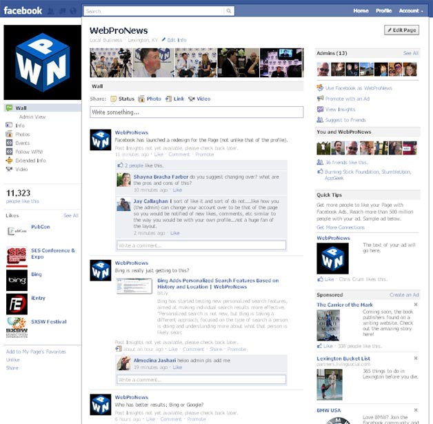 Facebook Page Redesign
