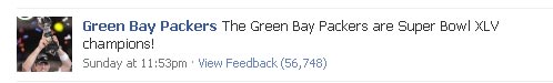 Packers Super Bowl Champions - Facebook Update