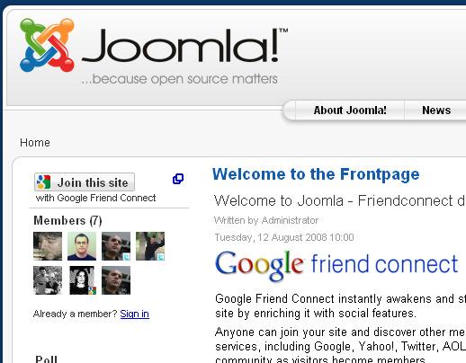 Friend Connect on Joomla
