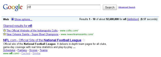 Google adds starring to search results pages for personalized search