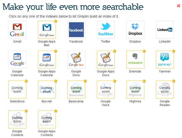 Services that Greplin uses to deliver you a personalized search experience