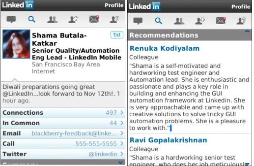 LinkedIn app for BlackBerry 6