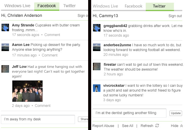 MSN - Facebook and Twitter Tabs
