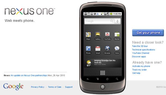 Nexus One Web Store
