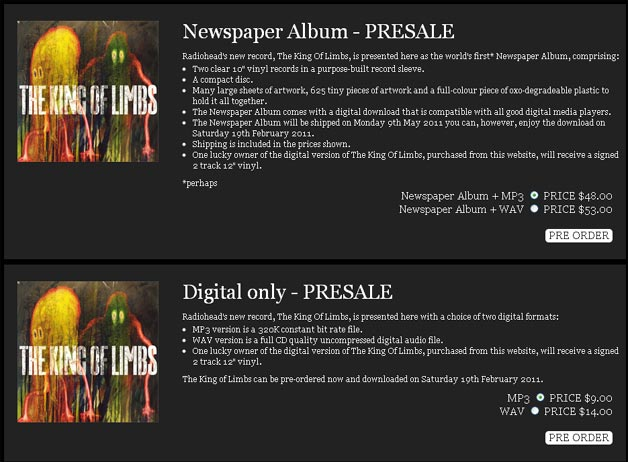 Pre-Order Radiohead The King of Limbs Digital Download