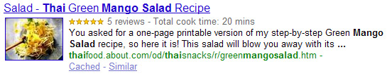 Rich Recipe Snippet from Google