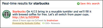 Starbucks Promoted Tweet (Via AdAge)