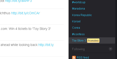 Toy Story 3 Promoted Trending Topic on Twitter