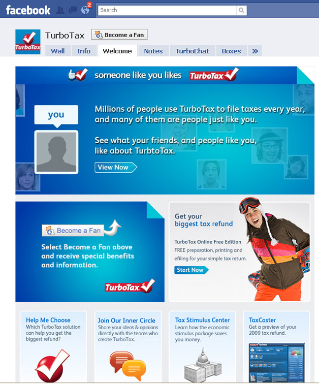 Intuit has a Turbotax Facebook page as part of its social media marketing strategy