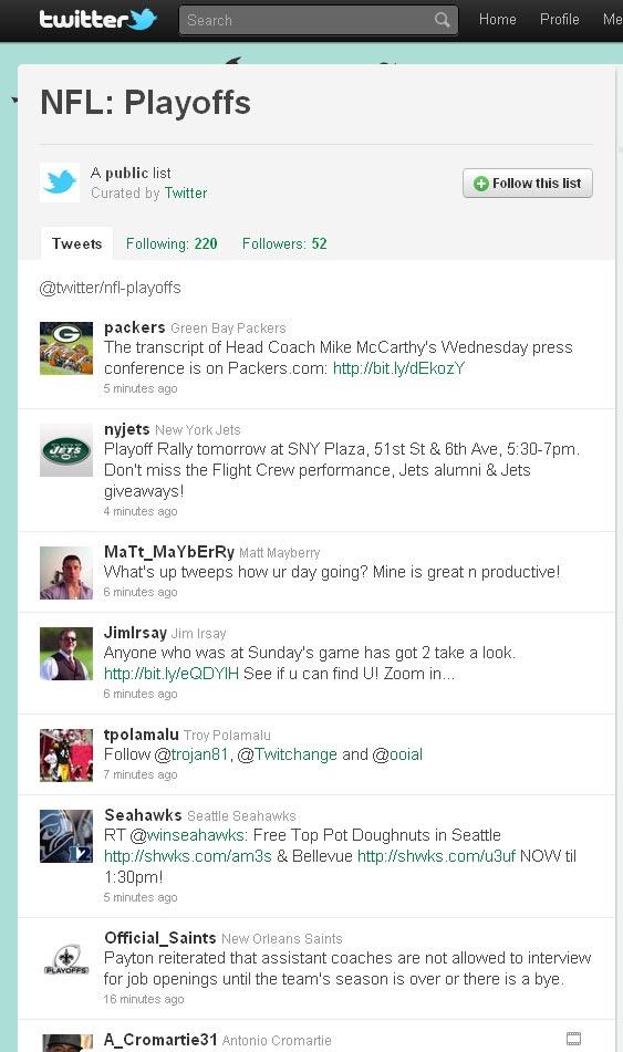 Twitter NFL List