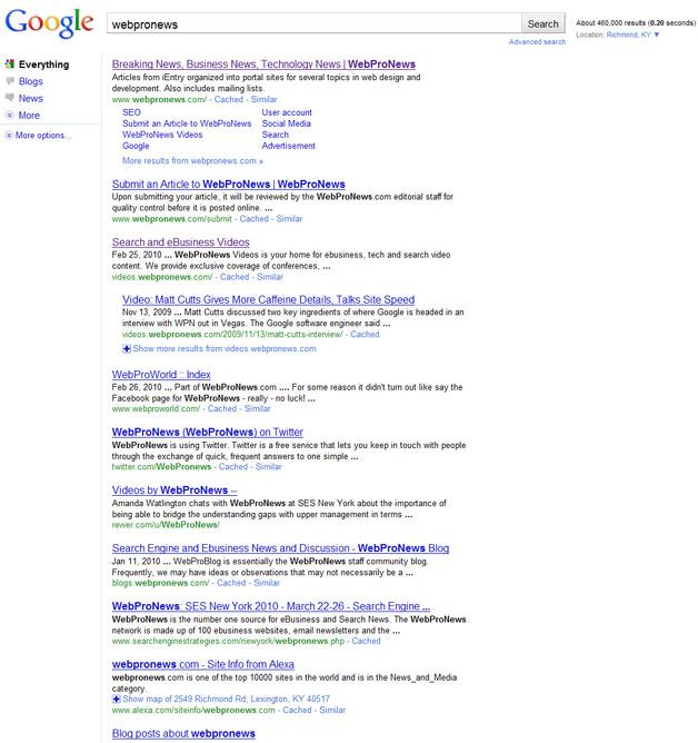WebProNews - New Google SERP