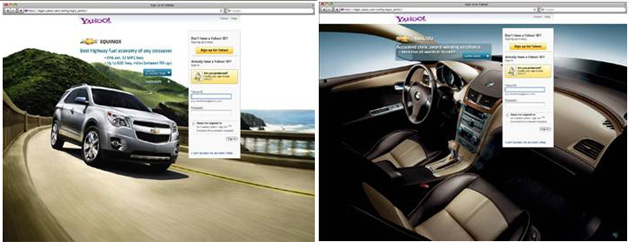 Ads on Yahoo's Log-in Page