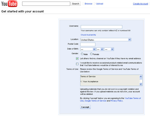 YouTube - Create an account - A Google Account